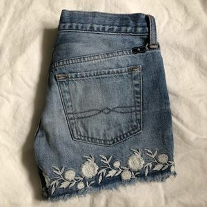 Lucky Brand Floral Embroidered Denim Shorts